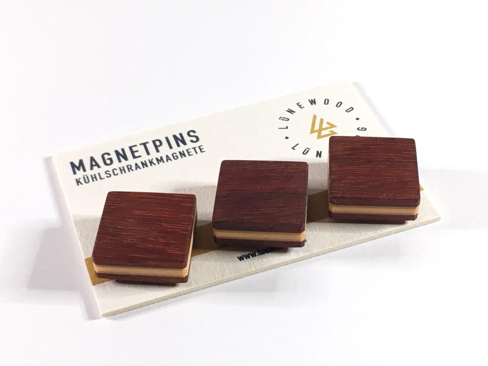 Magnetpin, quadratisch (Padouk)